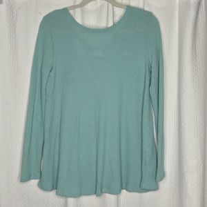 Blue Waffle Knit long Sleeve Size Small